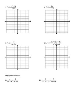 Graphing Rational Functions Worksheet (including Point