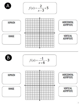 Graphing Reciprocal and Rational Functions Flip Book by