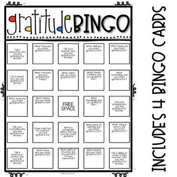 Gratitude Bingo Challenge Elementary School Counseling