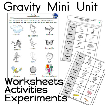 Gravity Unit and Worksheets Kindergarten by Sailing