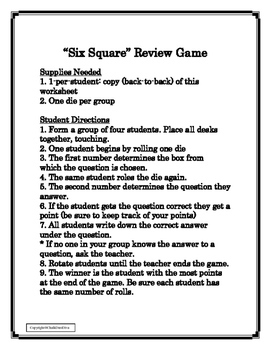 FREE! Great Depression Six-Square Review Game (U.S