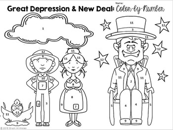Great Depression and New Deal: Color-by-Number Activity by