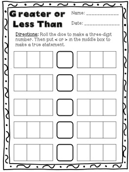 Greater or Less Than: A Place Value Activity by Through My