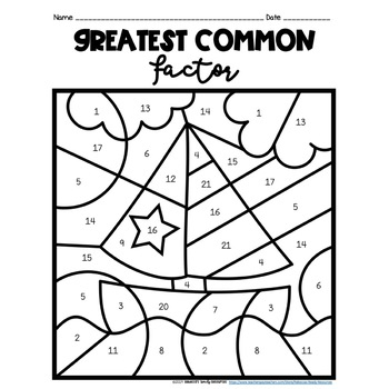 #freebiefriday Greatest Common Factor (GCF) Color by
