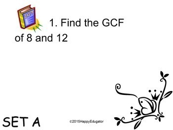 Greatest Common Factor (GCF) PowerPoint and Task Cards by