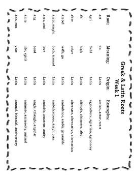 Greek & Latin Root Word Unit Weeks 1-5 by Jenifer