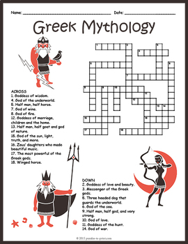 Ancient Greek Mythology Crossword Puzzle by Puzzles to