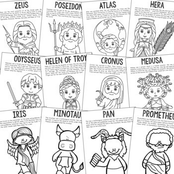 12 Greek Mythology Coloring Page Crafts or Posters with