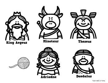 Greek Mythology: Theseus and the Minotaur Stick Puppets by