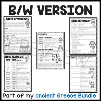 Greek Mythology Reading Comprehension Worksheet Ancient
