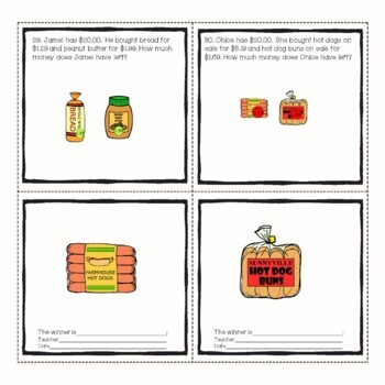Grocery Store Math Money and Change Word Problems from