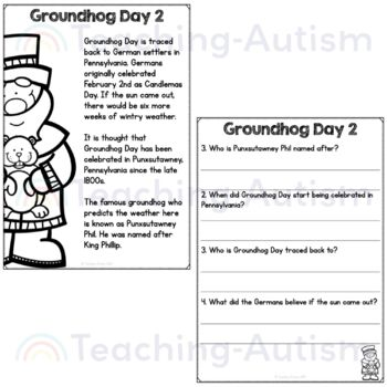 Free Groundhog Day Reading Comprehension Passages and