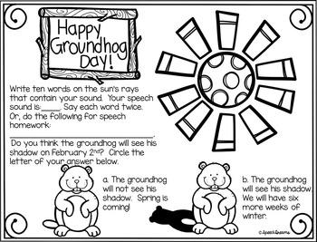 Groundhog Day Speech Therapy Homework FREE {Articulation