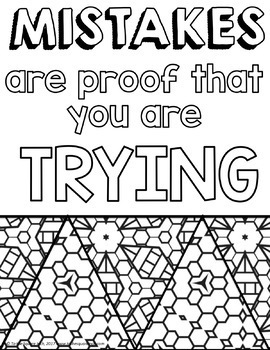 Growth Mindset Coloring Pages by To the Square Inch- Kate