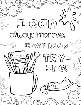Growth Mindset Coloring Pages, Set #2: The Art Class