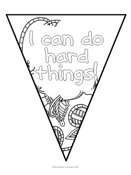 Growth Mindset Pennant Banner Coloring Pages by Elementary