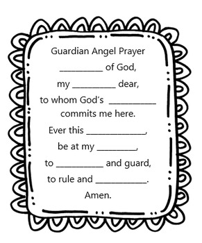Guardian Angel Prayer Worksheet by Little Miss Catechist