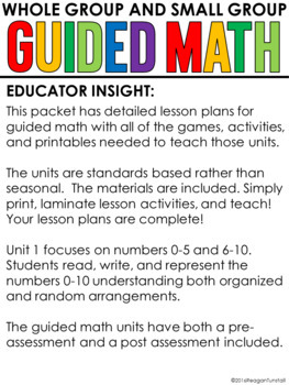 Guided Math Kindergarten Unit 1: Numbers 0 to 10 by Reagan