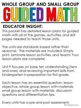 Guided Math Kindergarten Unit 9: Base Ten and Mixed Review
