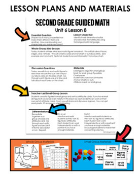 Guided Math Second Grade Unit 6: Geometry and Fractions by