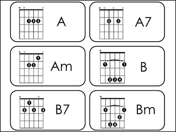 Guitar Chords Picture Word Flash Cards. by Teach At