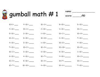 Gumball Math Worksheets 1. Gumball. Best Free Printable
