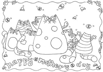 HAPPY MOTHERS DAY! Coloring Page & Clip Art by Sing in the