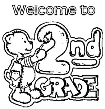 HUGE welcome to 2nd grade poster that kids can color! by