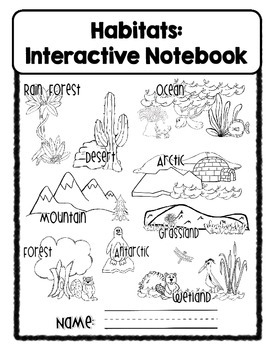 Habitats Interactive Notebook by Clip Art by Carrie