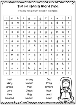 Hail Mary Catholic Prayer Posters, Worksheets, Interactive