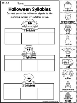 Halloween Literacy Worksheets (1st Grade) by United