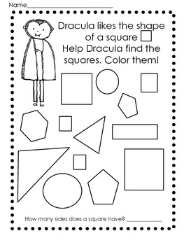 Halloween 2D Shapes Practice Worksheets/Printables by
