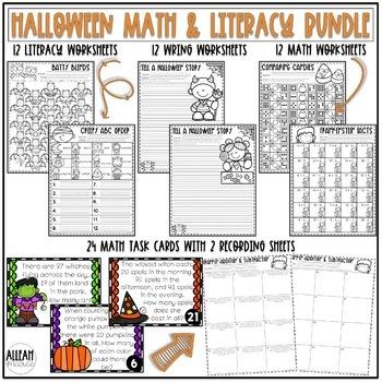 Halloween Addition & Subtraction Activities: Task Cards