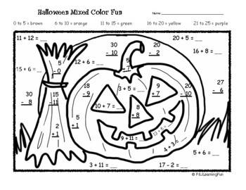 Halloween Addition & Subtraction Color Fun by Joanne Hall