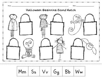 Halloween Beginning Sound Match Cut & Paste Worksheet by