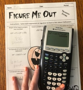 Halloween Calculator Math Activity High School Algebra, Figure Me Out, Equations Lesson, Calculator Practice, Math Halloween Lesson, Halloween Math Lesson Plan