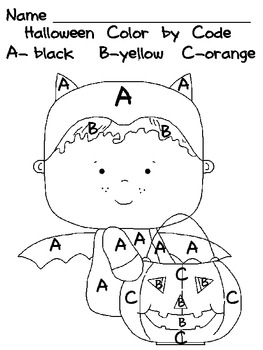 Halloween Color by Code Uppercase Letters- Preschool or