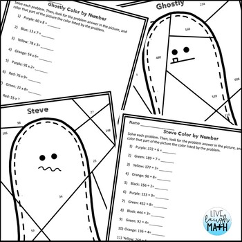 Halloween Math: Multiplication and Division Color by