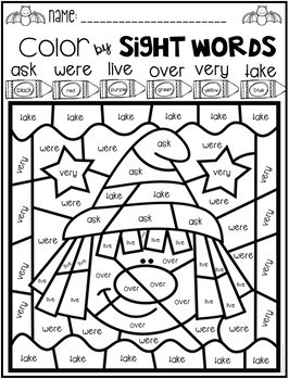 Halloween Color by Sight Words First Grade by Kindergarten
