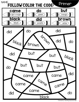Halloween Coloring Pages with Primer Words by Teaching