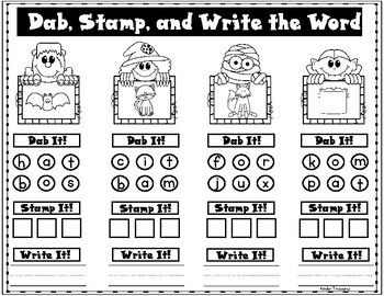 Halloween Dab, Stamp, and Write CVC Words by Kinder