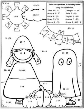 Fall Math / Halloween / Costume Two Digit Addition
