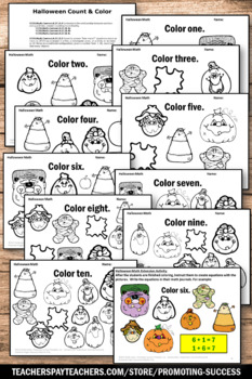 Halloween Counting Worksheets, Halloween Coloring Pages by