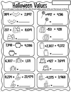 Halloween Math: Halloween 4th Grade Math Worksheets: 4th