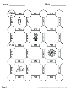 Halloween Math: 3-Digit and 2-Digit Addition Maze by