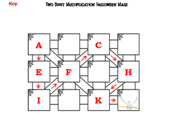 Halloween Math Maze: Two Digit Multiplication Activity by