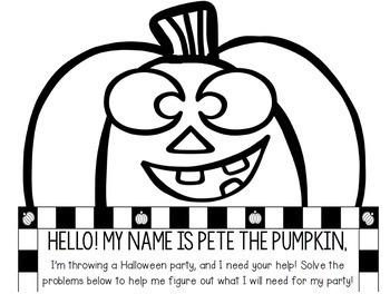 Halloween Math Craftivity: Multi-Step Word Problem