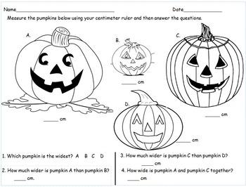 2nd Grade Halloween Measurement Comparison Math Centers