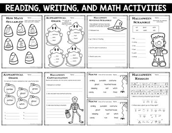 Halloween Reading Writing and Math Activities 1st and 2nd