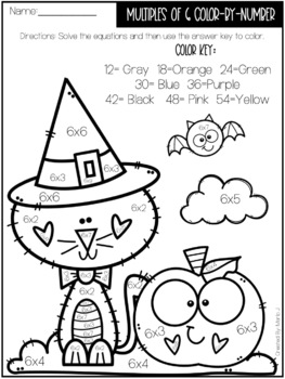 Halloween Multiplication Color-by-numbers by